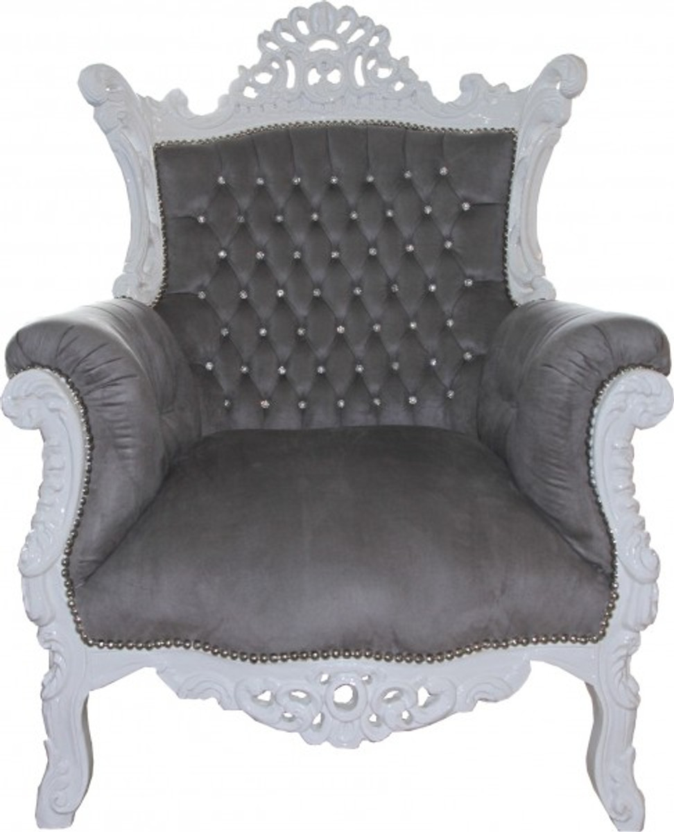 Casa padrino baroque armchair al capone grey white with for Sessel barock