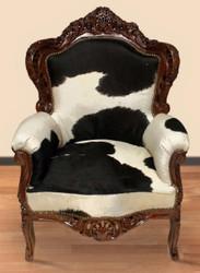 Casa Padrino Barock Sessel King Kuhfell Schwarz-Weiß / Braun - Echtes Kuh Fell