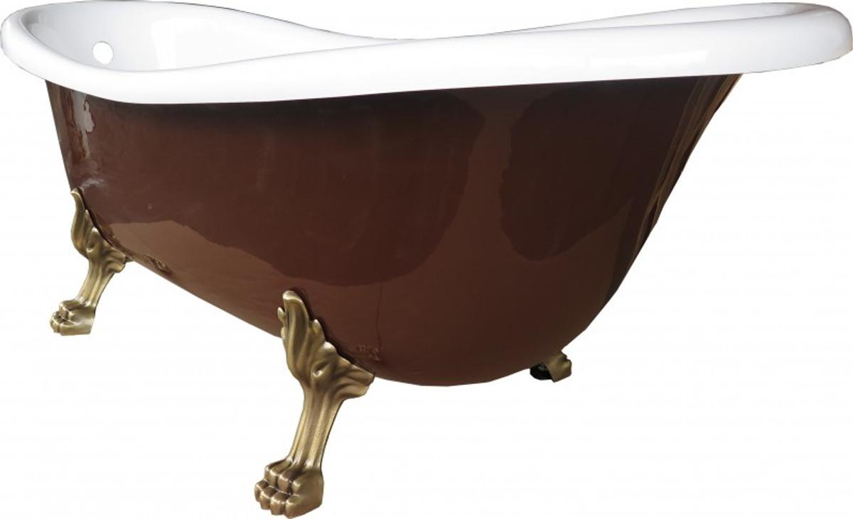 Freistehende Luxus Badewanne Jugendstil Roma Braun/Weiß/Altgold 1695mm von Casa Padrino - Barock Badezimmer - Retro Antik Badewanne 2