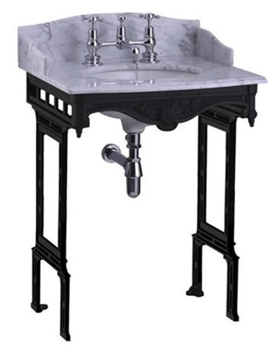 casa padrino luxus jugendstil stand waschtisch wei schwarz mit marmorplatte mit spritzschutz. Black Bedroom Furniture Sets. Home Design Ideas