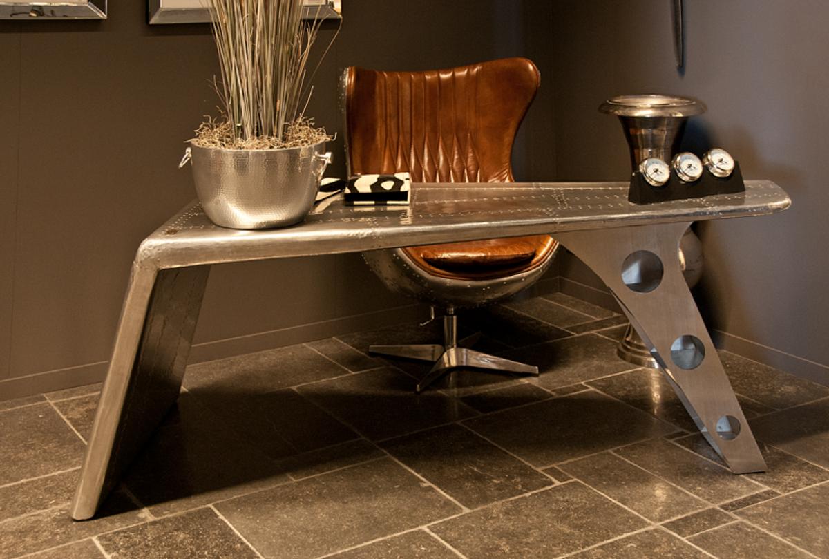 Perfekt Casa Padrino Luxus Designer Schreibtisch Aviator Desk Aluminium Flugzeug  Flügel Art Deco Vintage Plane