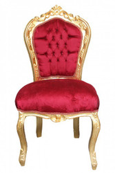 Casa Padrino Baroque dining room chair bordeaux / gold without armrests