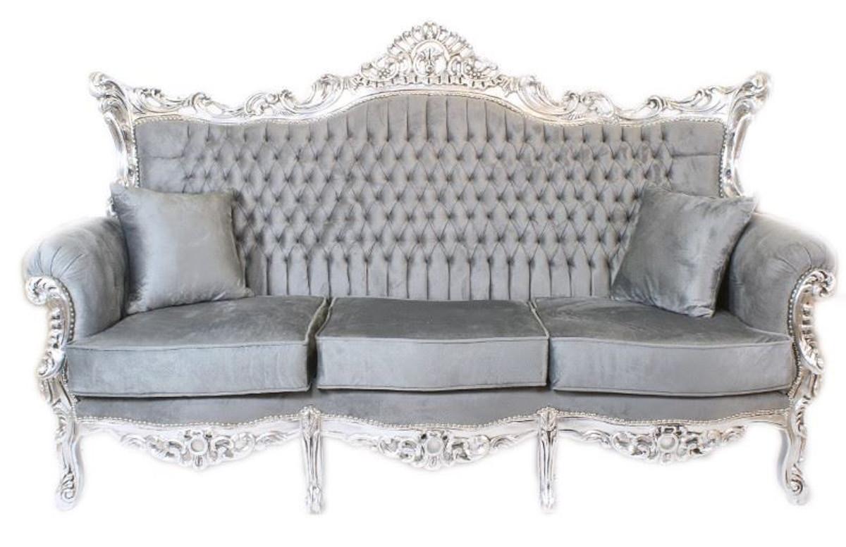 Casa Padrino Barock 3er Sofa Master Grau / Silber Mod1 ...