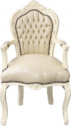 Casa Padrino Baroque Dinner Chair with armrests cream / cream