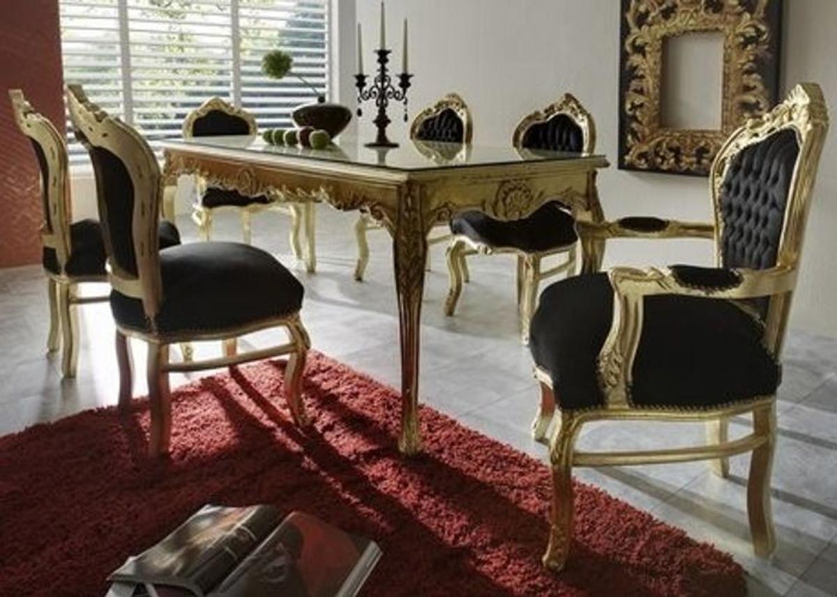 Casa Padrino Barock Esszimmer Set Schwarz/Gold   Esstisch + 6 Stühle   Möbel  Antik Stil