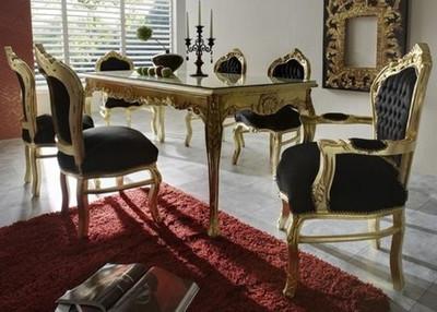 casa padrino barock esszimmer set schwarz gold esstisch 6 st hle m bel antik stil. Black Bedroom Furniture Sets. Home Design Ideas