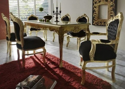 Baroque Dining Room Set Black/Gold - Dining Table + 6 Chairs