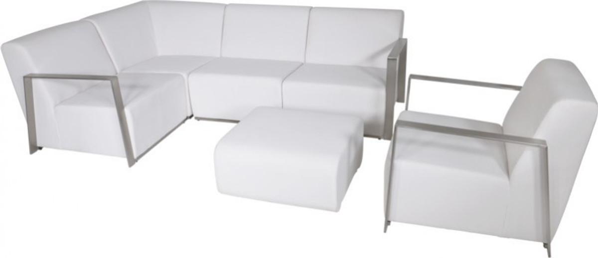 Casa Padrino Art Deco Designer Garten Möbel Set Weiß Mit Sunbrella Stoff    Schnelltrocknend   Luxus Garten Möbel Set