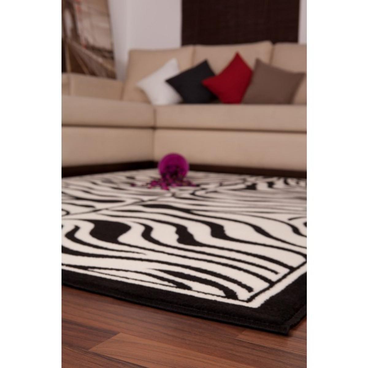 Casa Padrino Zebra Design Teppich Schwarz Weiss Designer Teppich