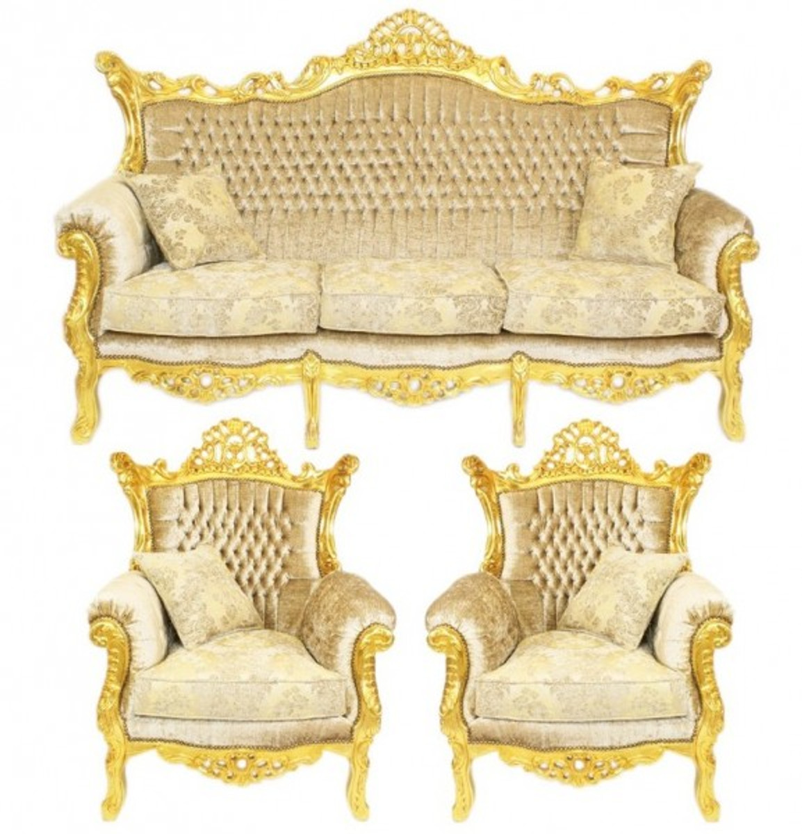 Casa padrino baroque living set master cream velvet gold for Sofa barock