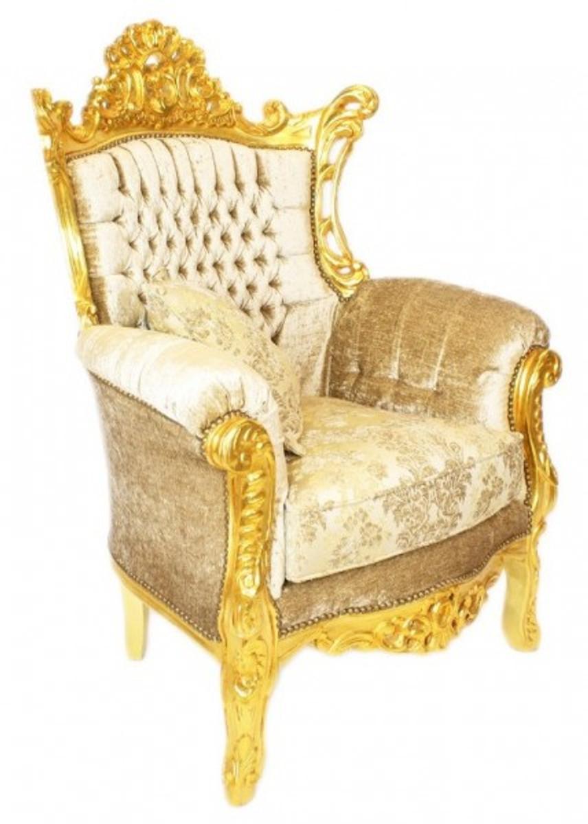 casa padrino barock wohnzimmer set master creme samtstoff gold 3er sofa 2 sessel limited. Black Bedroom Furniture Sets. Home Design Ideas