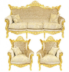 Casa Padrino Baroque Living Set Master cream velvet / gold - 3er sofa + 2 armchairs