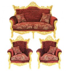 Casa Padrino Baroque Living Set Master Bordeaux pattern velvet / gold - 2-seater sofa + 2 armchairs - Limited Edition!