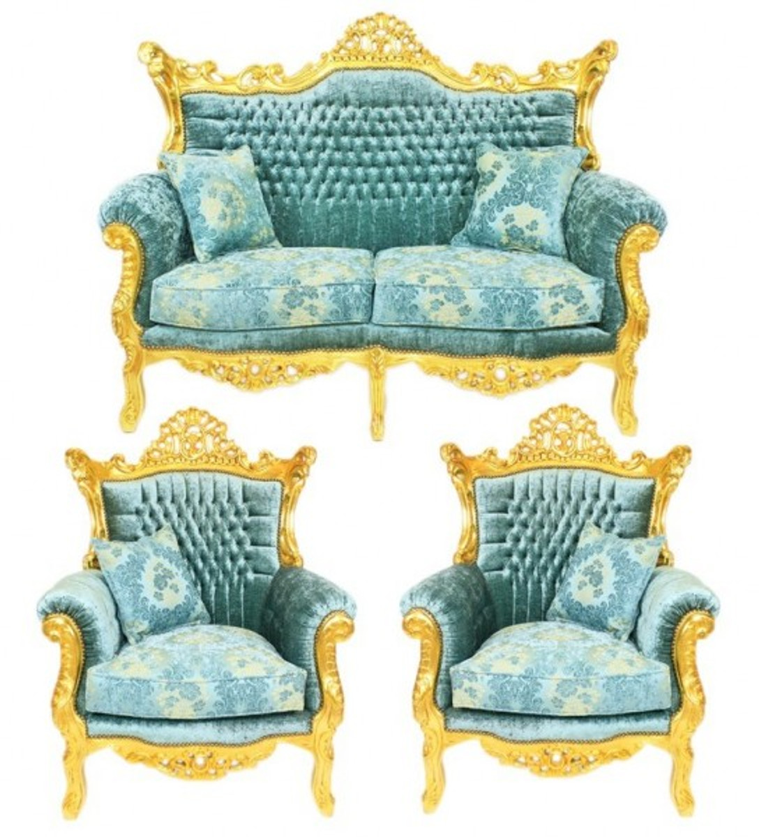 Casa Padrino Barock Wohnzimmer Set Master Türkis-Blau Muster ...