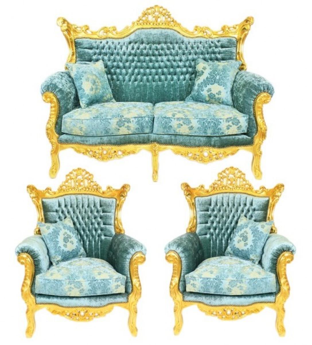 GroBartig Casa Padrino Barock Wohnzimmer Set Master Türkis Blau Muster Samtstoff /  Gold   2er Sofa + 2 Sessel   Limited Edition!