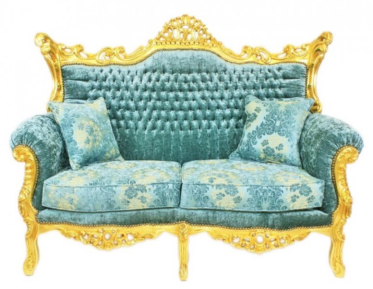 Casa Padrino Barock Wohnzimmer Set Master Türkis Blau Muster Samtstoff /  Gold   2er Sofa