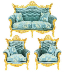 Casa Padrino Baroque Living Set Master Turquoise Blue pattern velvet / gold - 2-seater sofa + 2 armchairs - Limited Edition!
