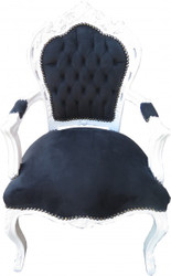 Casa Padrino Baroque Dinner Chair Black / White with armrest - furniture antique style