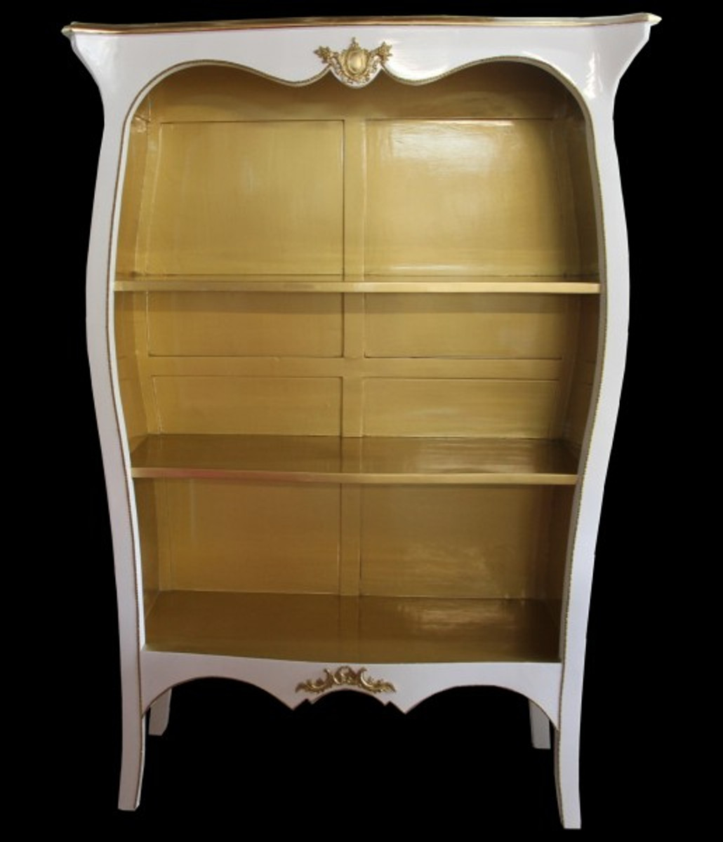 Casa Padrino Barock Bücherschrank Weiß Hochglanz / Gold B 110 x H 169 cm Bücherregal Regal Schrank - Limited Edition 2