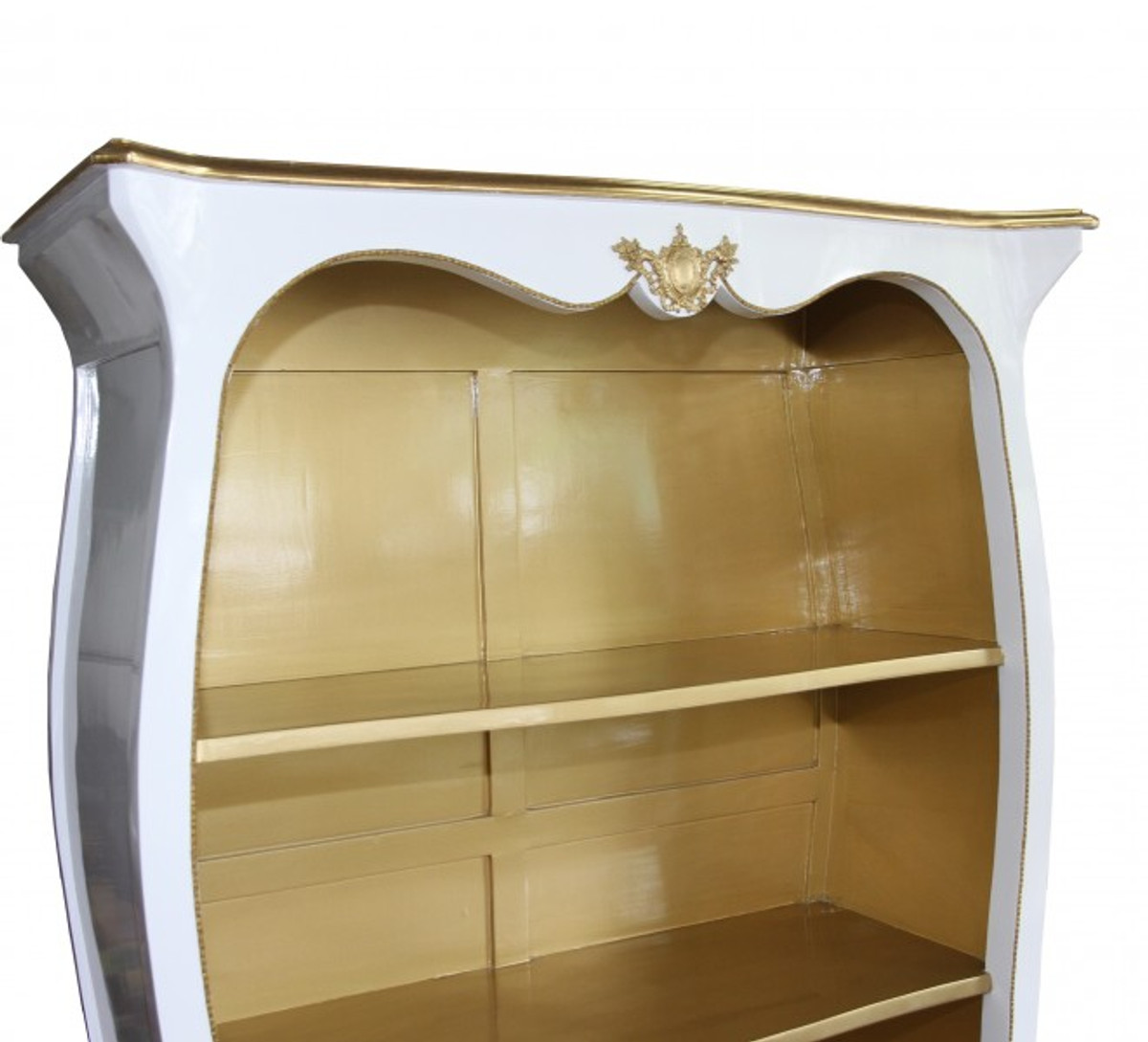 Casa Padrino Barock Bücherschrank Weiß Hochglanz / Gold B 110 x H 169 cm Bücherregal Regal Schrank - Limited Edition 5