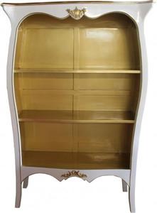 Casa Padrino Barock Bücherschrank Weiß Hochglanz / Gold B 110 x H 169 cm Bücherregal Regal Schrank - Limited Edition