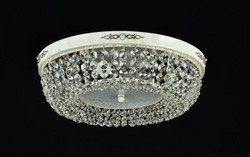 Casa Padrino Baroque crystal ceiling chandelier cream gold 45 x H 13 cm antique style - Furniture Chandelier Chandelier pendant light hanging lamp