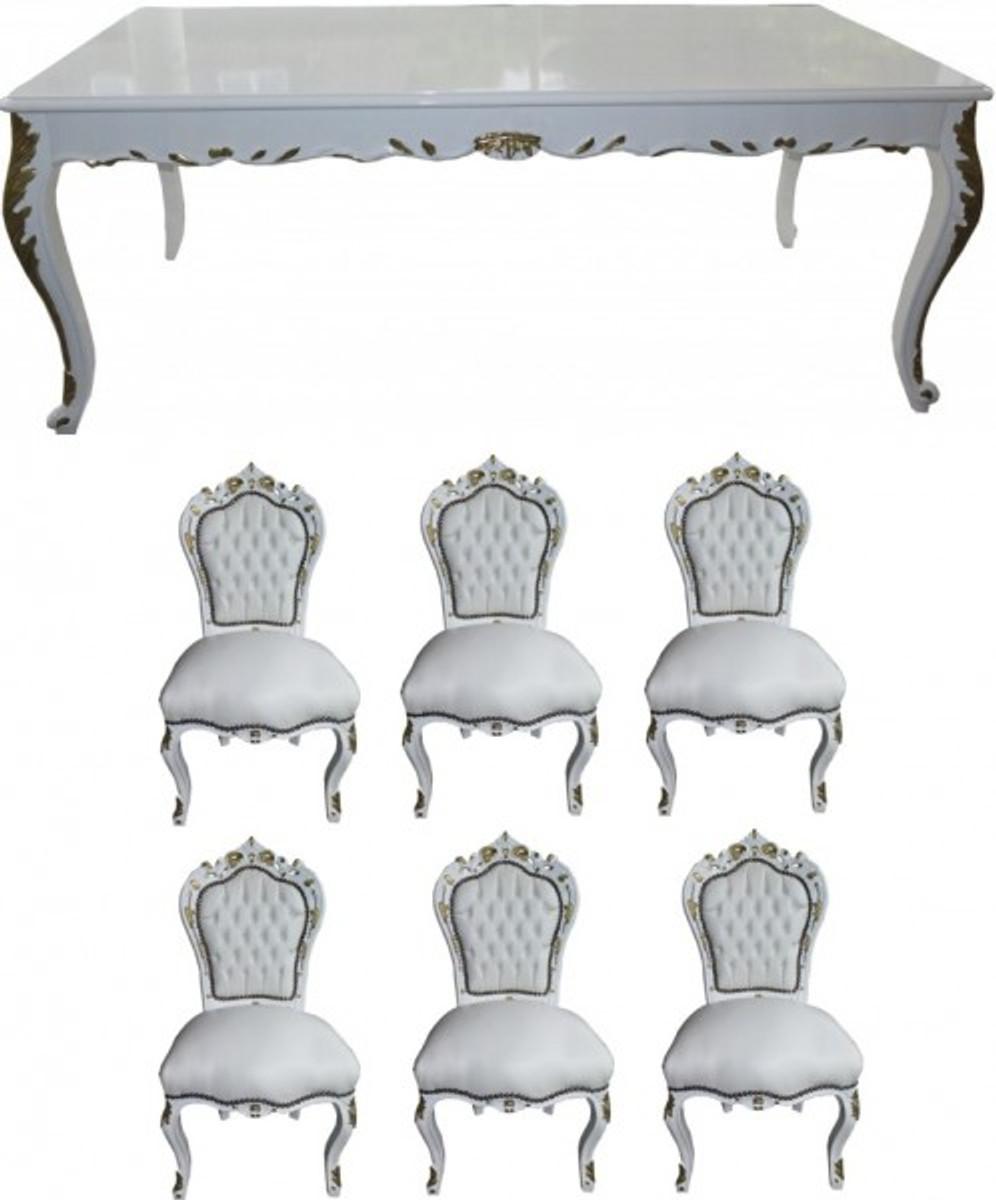 Casa Padrino Barock Esszimmer Set Weiß / Weiß / Gold   Esstisch + 6 Stühle    Möbel Antik Stil