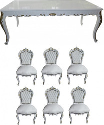 Casa Padrino Baroque Dinner Set White / White / Gold - dining table + 6 chairs - antique style furniture