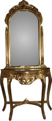 Casa Padrino Baroque mirror console in gold with green marble top MOD5 - antique look - Limited Edition