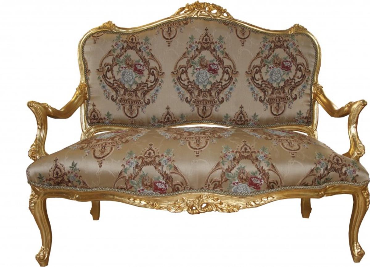 casa padrino barock sofa creme muster gold. Black Bedroom Furniture Sets. Home Design Ideas
