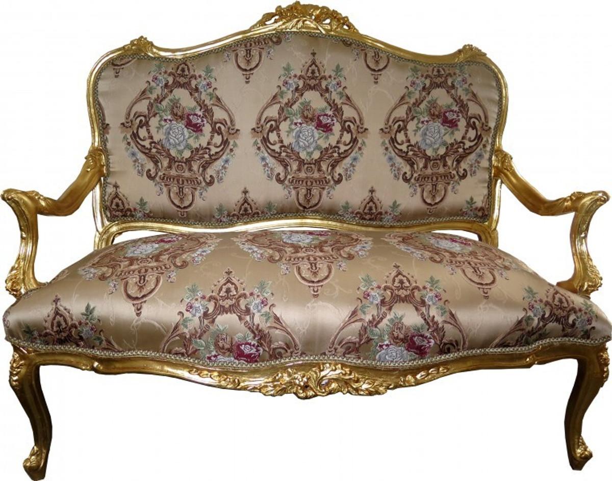 casa padrino barock sofa creme muster gold italienischer stil barock m bel prunkvoll und. Black Bedroom Furniture Sets. Home Design Ideas