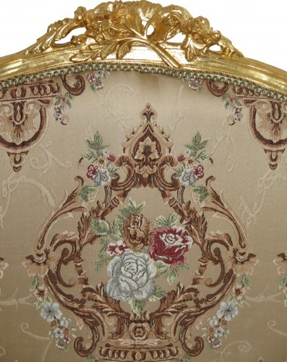 Casa Padrino Barock Sofa Creme Muster Gold Italienischer Stil
