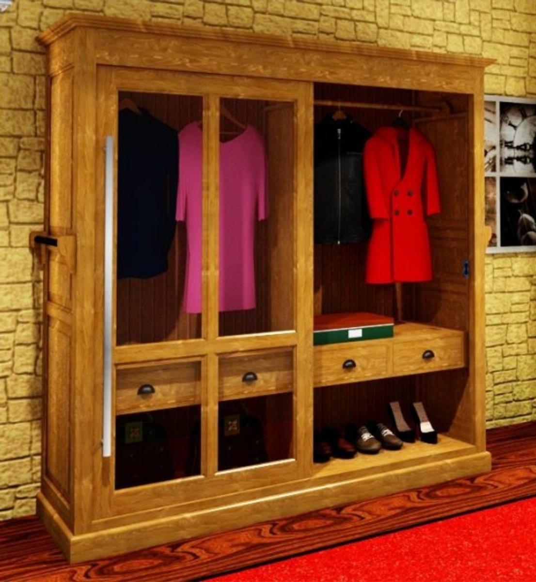 Casa padrino luxus kleiderschrank b 226 x h 220 cm haute couture schlafzimmer schrank mit glas - Luxus kleiderschrank ...