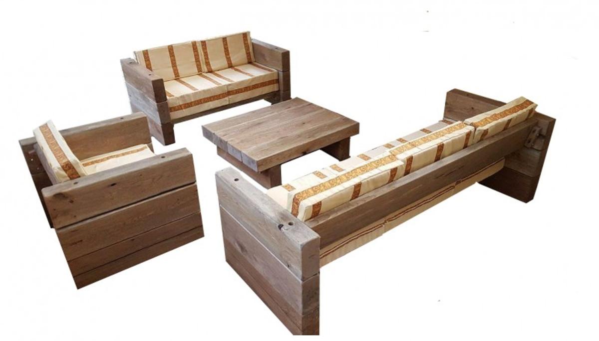 Luxus Garten Möbel Set Eiche Massiv - Schwere Ausführung - 3Er