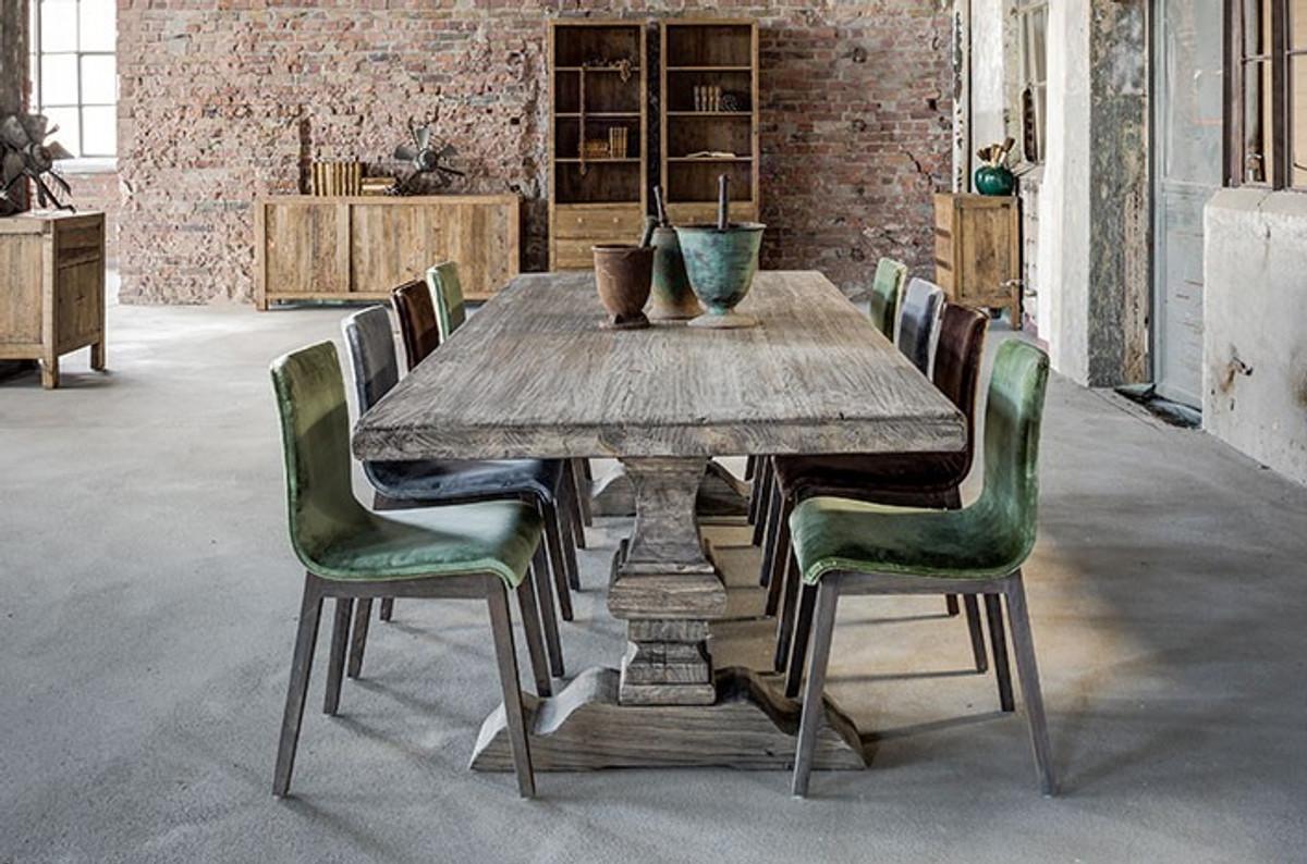 Casa padrino villa dining oak rustic grey baroque table solid