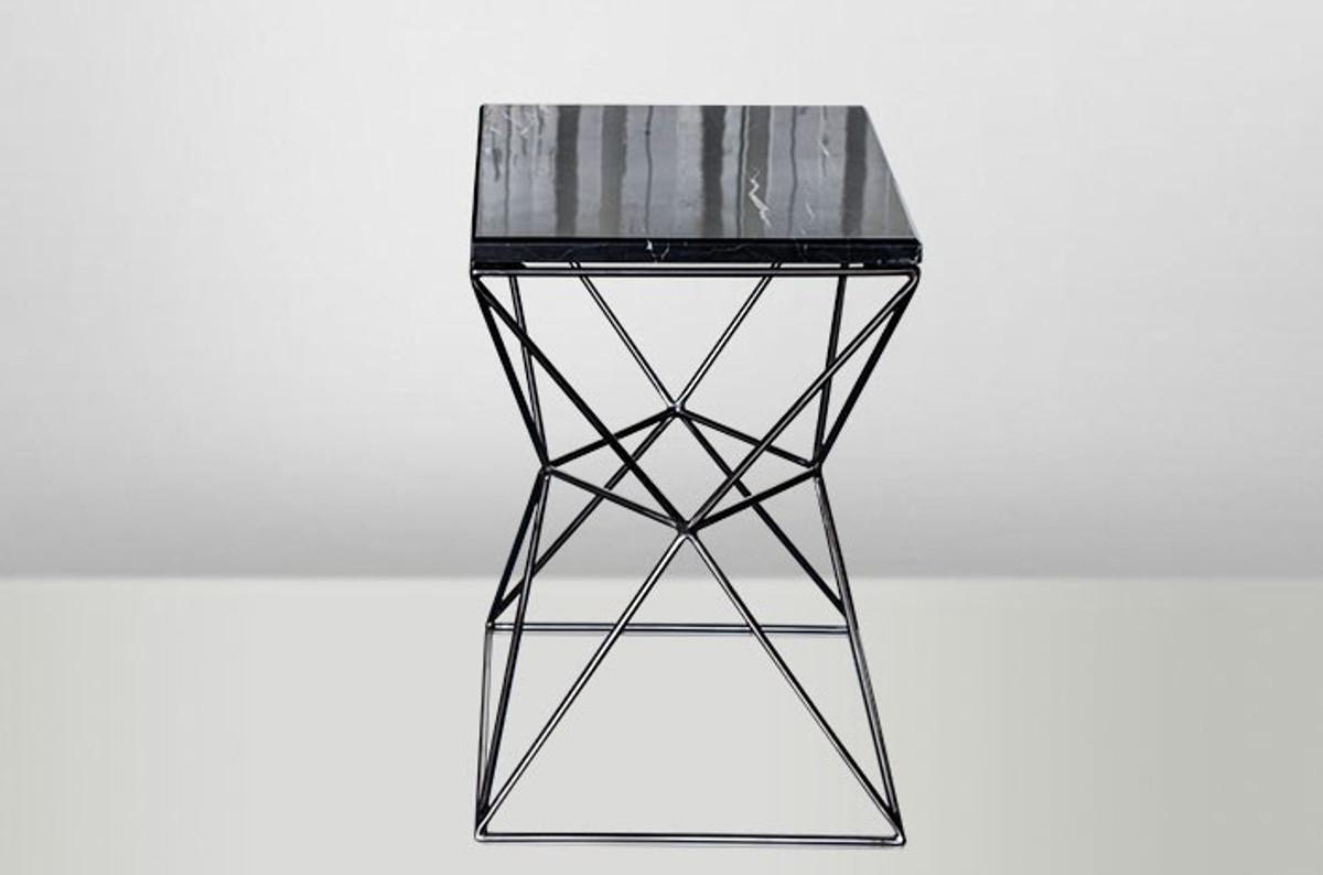 Beistelltisch Schwarz casa padrino deco beistelltisch schwarz metall marmor 35 x 35