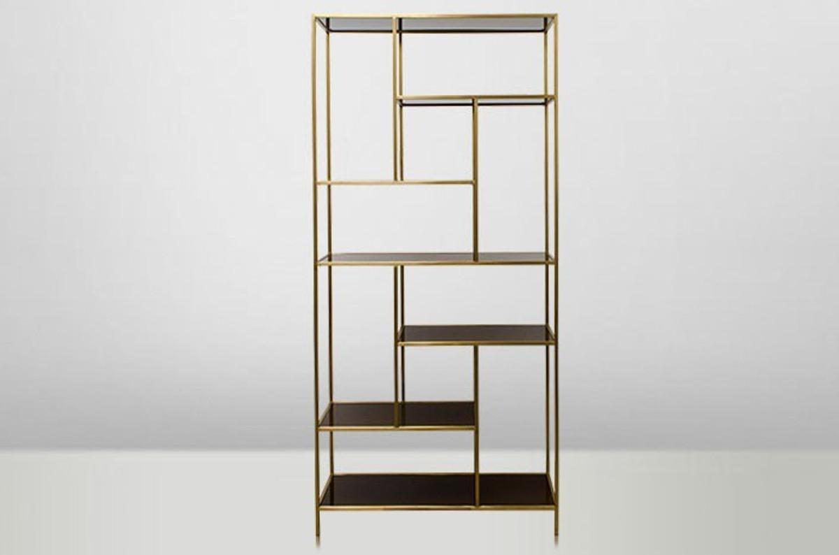 casa padrino art deco luxus regal schrank edelstahl gold mit get nten glasb den h210 x 98 x 35. Black Bedroom Furniture Sets. Home Design Ideas