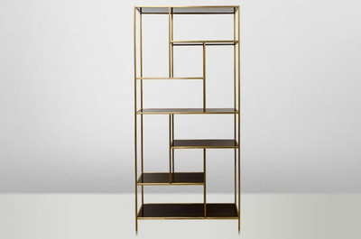 Casa Padrino Art Deco Luxury Shelving Cabinet Stainless Steel Gold