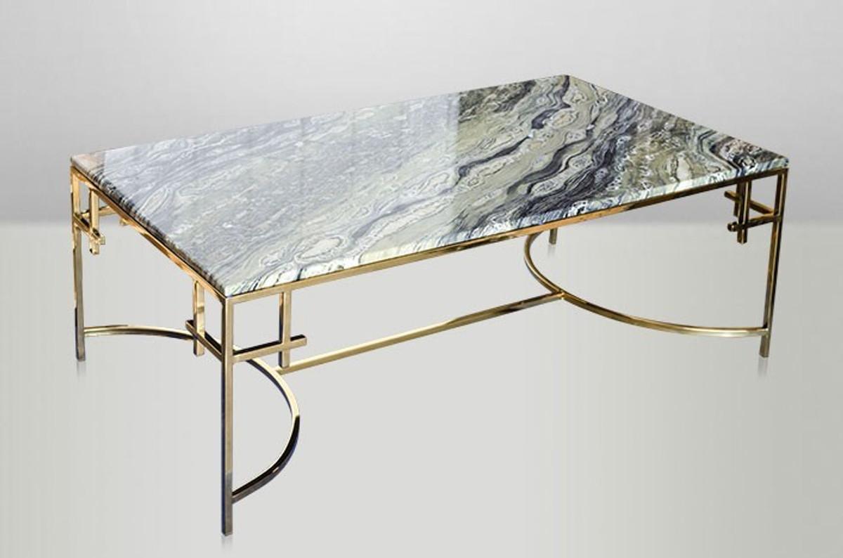 Casa padrino art deco couchtisch gold metall marmor 130 for Marmortisch wohnzimmer