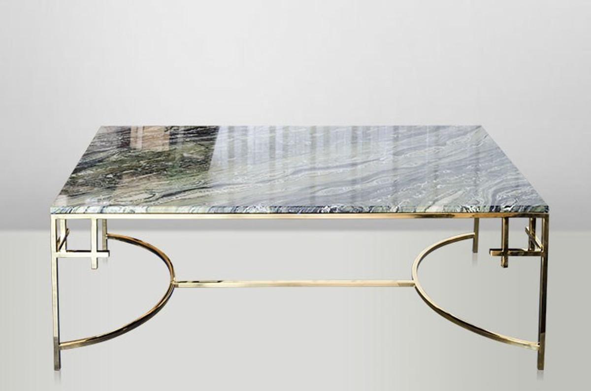 Casa Padrino Art Deco Couchtisch Gold Metall Marmor 130 X 70 Cm