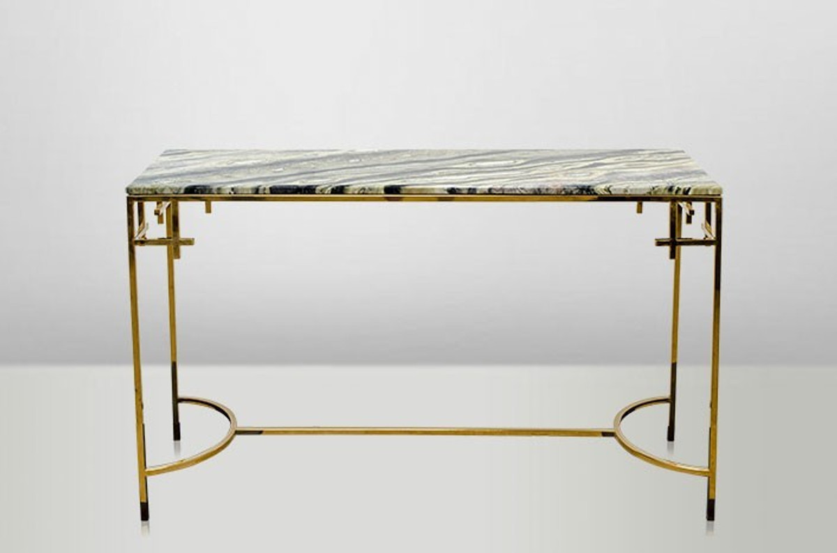 Casa Padrino Art Deco Console Table Gold Metal / Marble 130 X 40 Cm Art  Nouveau Console   Living Room