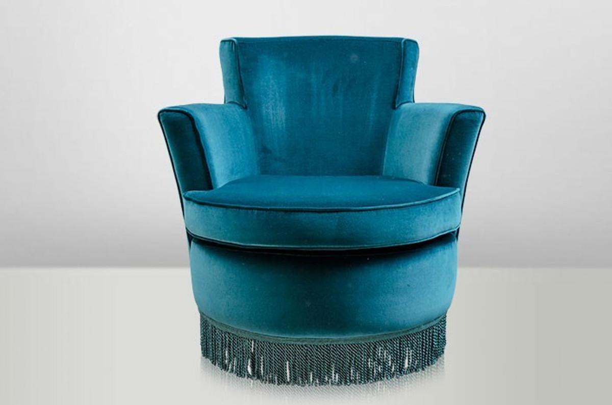 Casa padrino luxury art deco lounge chair blue luxury for Sessel gross