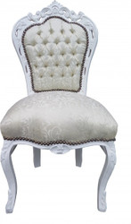 Casa Padrino Baroque Dinner Chair White Pattern / White - Antique Furniture - Limited Edition