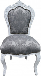 Casa Padrino Baroque Dinner Chair Gray pattern / white without armrests - Antique Furniture - Limited Edition