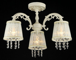 Casa Padrino Baroque crystal ceiling chandelier cream gold 54 x H 36 cm antique style - Furniture Chandelier Chandelier pendant light hanging lamp