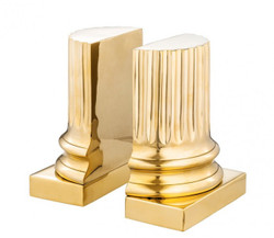 Casa Padrino luxury Bookend Set Column Gold Bookend - Book End - Luxury Collection - Art Deco - Polished Brass