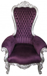Casa Padrino Baroque throne Majestic Medium Purple / Silver Bling Bling rhinestones - giant armchair - throne chair Tron