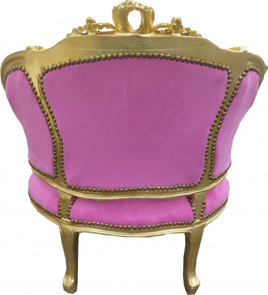Casa Padrino Barock Salon Lounge Sessel Rosa Gold Cocktailsessel