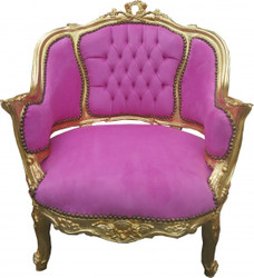 Casa Padrino Baroque Salon Lounge Chair Rose / Gold - Cocktail armchair