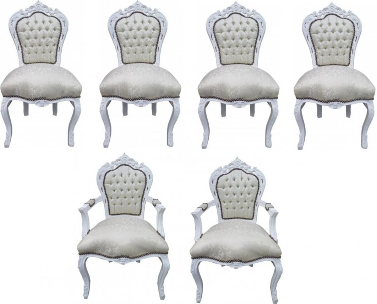 Casa Padrino Barock Esszimmer Set 4 Stühle + 2 Stühle Mit Armlehnen   Möbel  Antik Stil